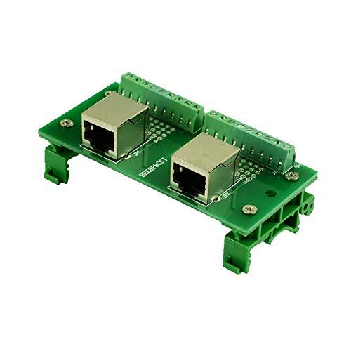 YEZIB Componentes de terminales PCB RJ45 8P8C Breakout Board Jacks a Block Adaptador de Terminal y 2 * 8pins Bloques terminales Horizontal y Vertical zócalo