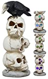 Ebros Gothic Raven Crow Bird Perching On Pole Totem Stacked Skulls with Color Changing LED Night Light Statue 11.75' Tall Edgar Poe Harbinger of Doom Skull Macabre Ossuary Figurine As Halloween Decor