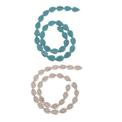 Amuzocity 60x Perlas de Hoja Turquesa Collar de Gemas Perlas Artesanía Piedra Colorida