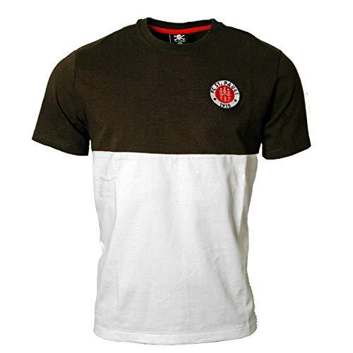 FC St. Pauli - Camiseta con logotipo del FC St. Pauli 2019, color marrón y blanco