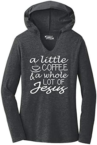 Ladies Hoodie Shirt A Little Coffee A Lot of Jesus Cute Christian Gift Tee Black Frost XL product image