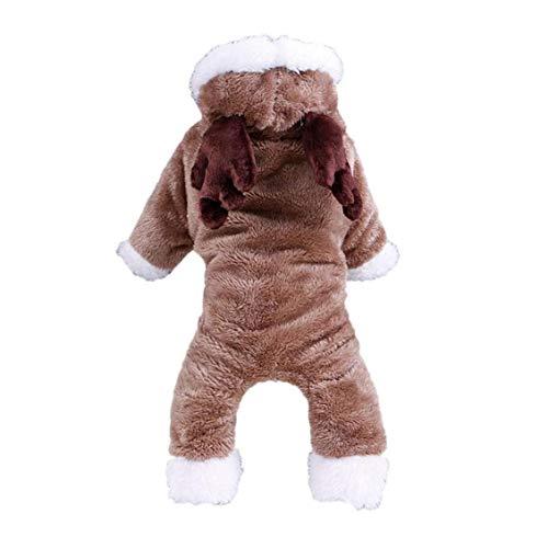 Nicetruc Hund Sankt-Ren-kostüm Hund Weihnachtsren Winterkleidung Katze Warm Elk Kostüm Pet Weiche Koralle Fleece-Jacke Für Hunde, Katzen, M