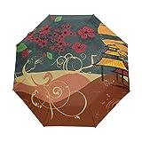 Kleiner Reiseschirm Winddicht im Freien Regen Sonne UV Auto Compact 3-Fach Regenschirm Abdeckung - Blume und Pavillon