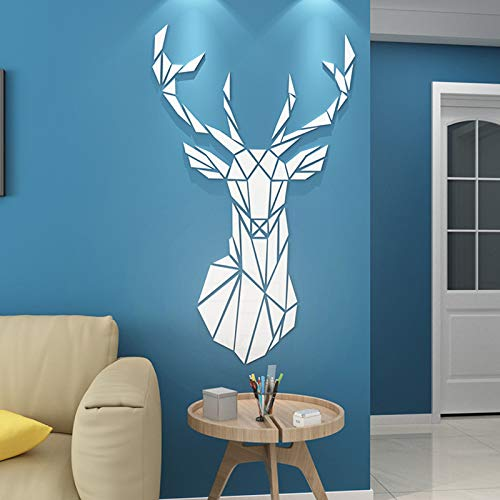 LxwSin 3D Mirror Wall Stickers, Deer Acrylic Wall Sticker, Self Adhesive DIY Design Bedroom Living Room Decorative Acrylic Wall Sticker Creative 3D Modern Decorative Mirror Home Decal, 72x43CM