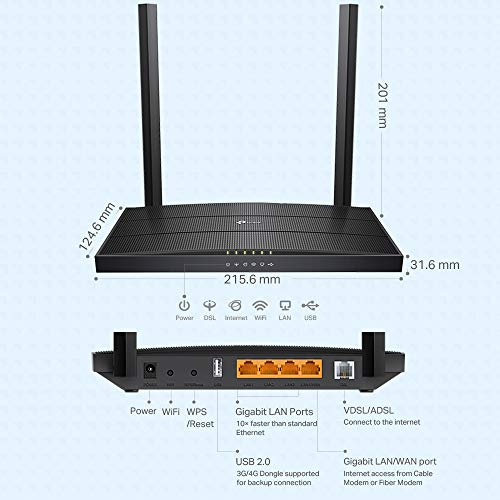 [Neu] TP-Link Archer VR400 Modem Router bis zu 100Mbps, Profil 30a, VDSL/FTTC/FTTS/ADSL, WLAN AC1200 Dual Band 2.4/5GHz, Gigabit-Ports, TP-Link OneMesh Technologie. -MIMO, Q. oS