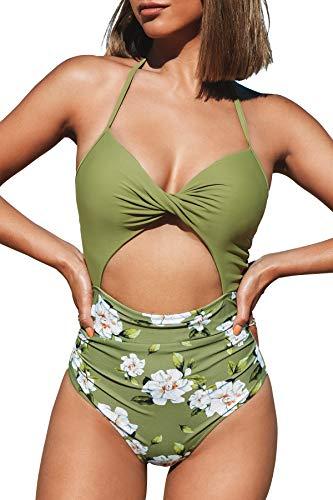 CUPSHE Women's One Piece Swimsuit Halter Cutout Print Bottom Bathing Suit, L