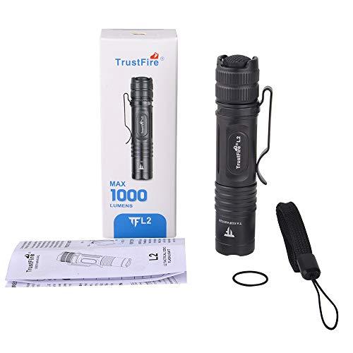 TrustFire L2 Mini linterna 1000 lúmenes brillante con CREE XP-L HD LED y batería AA/14500 – 2 modos tácticos para EDC, camping, senderismo, paseos de perros y en la naturaleza (sin batería)