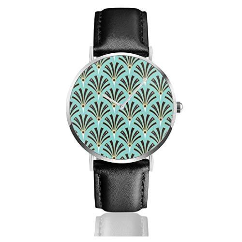 Reloj de Pulsera de Cuarzo analógico con diseño de Abanico de Piel...
