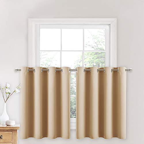 NICETOWN Window Treatment Kitchen Curtains - Solid Grommet-Top Short Curtains Drapes Panels for Kitchen Window (Biscotti Beige, 2 Pieces per Pack, 52 inches Wide x 36 inches Long + 1.2 inches Header)