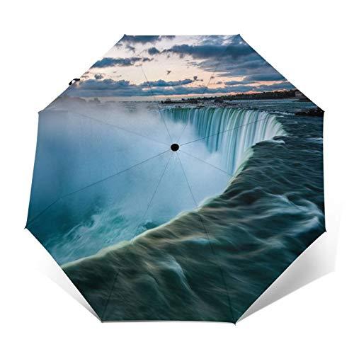 Paraguas Plegable Automático Impermeable Cascada de Agua, Paraguas De Viaje Compacto A Prueba De Viento, Folding Umbrella, Dosel Reforzado, Mango Ergonómico