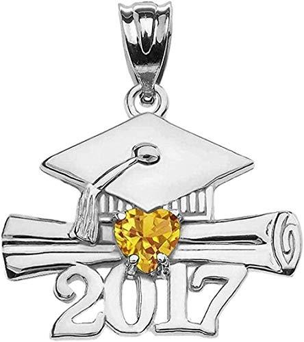 WSBDZYR Co.,ltd Collar de Moda 925 Corazón de Plata esterlina Noviembre Birthstone Amarillo CZ Clase de 2017 Colgante de graduación
