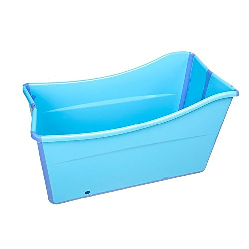 Baril De Bain D'épaississement De Baignoire Des Enfants Adultes En Plastique Se Pliant De Seau Avec La Couverture D'isolation (Couleur : Bleu)
