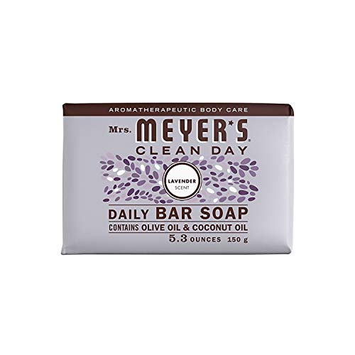 Mrs. MEYER'S CLEAN DAY Bar Soap, Use as Body Wash or Hand Soap, Cruelty Free Formula, Lavender Scent, 5.3 oz- Pack of 12