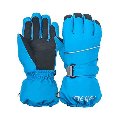 Linlook Skihandschuhe für Kinder/Herren/Damen wasserdichte und Winddichte Winterhandschuhe Warm Sporthandschuhe Fahrradhandschuhe Snowboard Handschuhe für Outdoor Sport in Winter Blau L