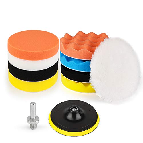 Kshineni Car Buffer Pads 6-Inch Buffing & Polishing Pads,11 Pieces Drill Buffing Kit, Auto Polisher Pads Kit Car Foam Drill for Car Polishing,Sanding,Waxing,Sealing Glaze