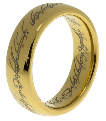 Anillo de compromiso chapado en oro de 14 quilates para hombre o mujer, diseño de señores del anillo [un anillo] [6 mm tamaño Q]