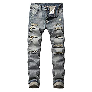 Men's Ripped Slim Fit Straight Denim Jeans Vintage Style with Broken Holes