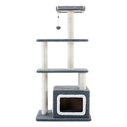 Kattträd torn katt träd lägenhet med sisal skrappost och skötsam hus katt lekaktivitetscenter (färg: Grå, storlek: 61 x 49 x 130 cm)