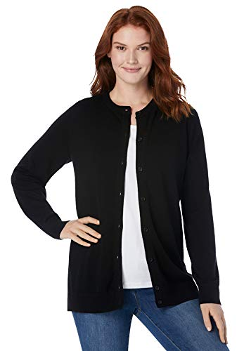Woman Within Women's Plus Size Perfect Long-Sleeve Cardigan Sweater - 5X, Black