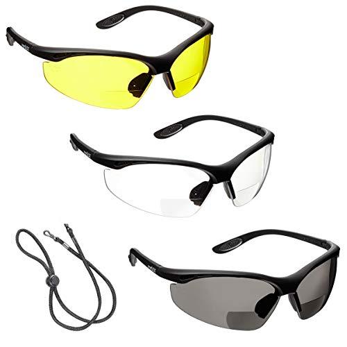 3 x voltX 'Constructor' BIFOKALE Schutzbrille mit Lesehilfe (+1.5 Dioptrie klare, gelbe & rauchgraue Scheibe) CE EN166f Zertifiziert/Sportbrille für Radler – enthält Sicherheitsband mit headstop