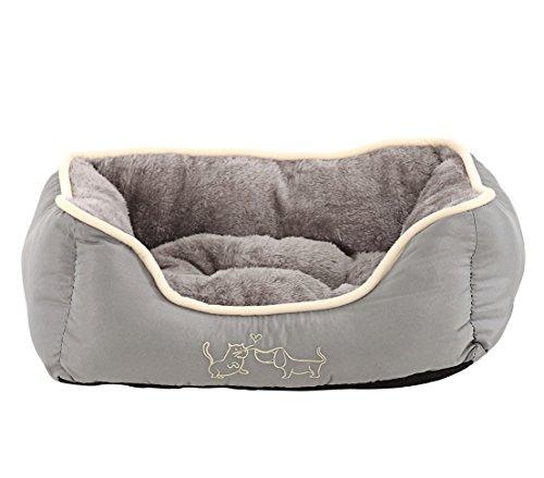 Dehner Hunde- und Katzenbett Sammy, ca. 47 x 37 x 17 cm, Polyester, grau
