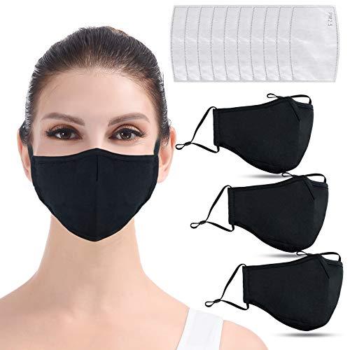DISEN 3 Stück 3D Mundschutz Maske aus Baumwolle mit 10 Aktivkohle Filter, dick waschbar Winter Staubschutzmaske wiederverwendbar verstellbar Gesichtsschutz Stoffmaske