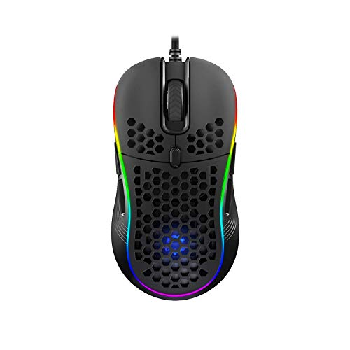 DREVO Owlet Wired RGB Lightweight Gaming Mouse, PixArt PMW3325 Max 10000 DPI, Ambidextrous Design for Left&Right Hand, 8 Programmable Buttons, Honeycomb Shell with Ultra-Weave Cable
