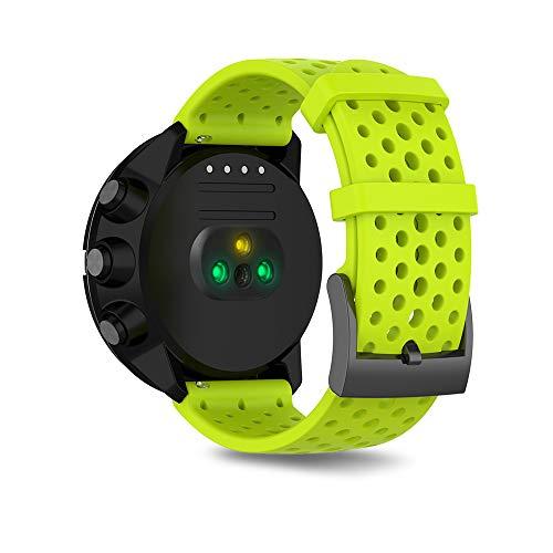 Ficocean Correa de Reloj Compatible para Suunto 9, Pulsera de Silicona Brazalete de Repuesto Banda de Deportes Correa de Muñeca para Suunto 9 /Suunto Spartan Sport Wrist HR Baro (Lima, L)