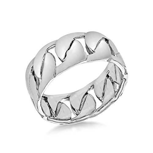 Tuscany Silver Men's Sterling Silver Rhodium Woven Ring, Size V