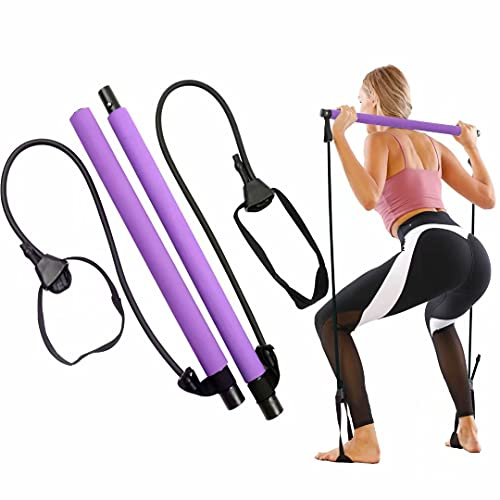 GLKEBY Kit Barra per Pilates con Fascia di Resistenza Regolabile Barra per Pilates Portatile per Stretching, Yoga, modellamento, Esercizio, Addominali, Dimagrimento (Purple)