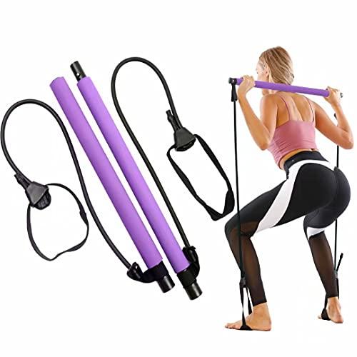 GLKEBY Kit de Barra de Pilates con Banda de Resistencia Ajustable Barra de Pilates portátil para Estiramiento, Yoga, Modelado, Ejercicio, Abdominales, Perder Peso (Purple)