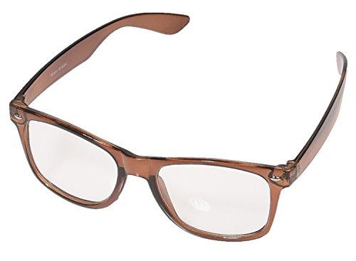 Wayfarer Gafas de Fiesta 1980Style Retro atzen Nerd gafas gafas de Carey Gafas de sol transparente cristal Dunkelbraun Rahmen Klarglas Talla única
