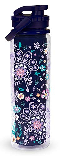 Vera Bradley Blue Double Wall Insulated Sport Water Bottle, 23 Ounce Travel Water Jug with Lid and Carrying Strap, French Paisley
