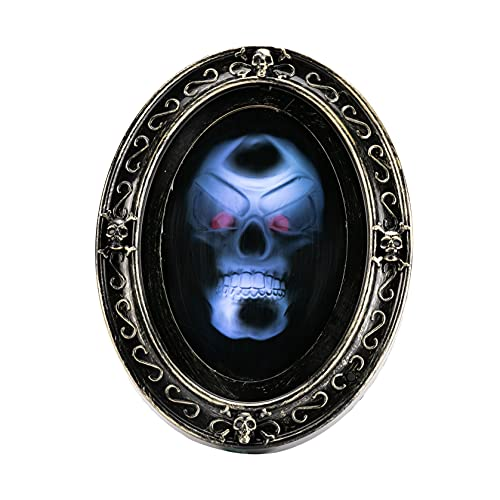 JOYIN Halloween Decoration Motion Activated Skull Hunted Mirror wih Creppy Sound and Light, Horrible Mirror for Halloween Party Indoor Decorations Halloween Scary Prop