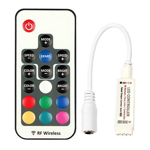 VIPMOON LED Controller Fernbedienung mit Empfänger 2835 5050 RGB LED Streifen Licht, Wireless IR-Fernbedienung [Energieklasse A+] (17 Key RF Controller)