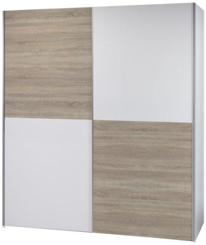 Stella Trading 58-301-68 Victor 2 Schwebetürenschrank Schachbrett Eiche Sonoma Dekor, circa 170 x 195 x 63 cm, weiß