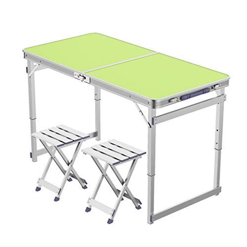Table de camping pliable avec 2 tabourets métalliques pliants, chaise de camping, hauteur réglable en aluminium, 4 pieds, table de camp de pique-nique intérieure et extérieure ( Couleur : Green )