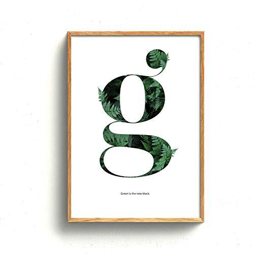 NLZNKZJ Farne Green Plant g Zitate Wandkunst Leinwand Malerei, Poster und Drucke Minimalismus Wandbilder für Wohnzimmer Dekor 60x90cm ohne Rahmen