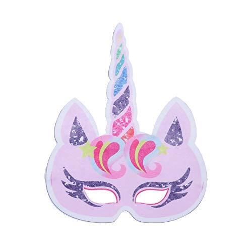 NUOBESTY Máscara De Unicornio De Papel Máscara Cara Media para Niños Rendimiento Cumpleaños Fiesta Temática De Unicornio Mascarada Cosplay Disfraces (Rosado)