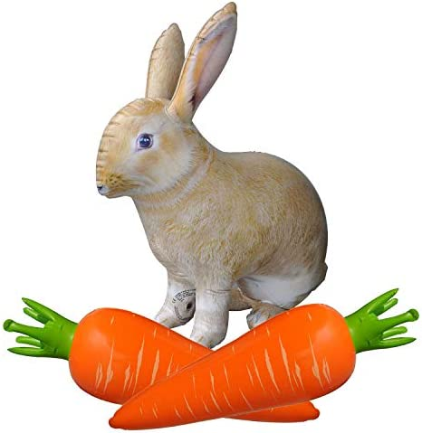 Jet Creations Inflatable Stuffed 30 inch Bunny Rabbit Animal 1 and 25 inch Carrot 2 Bundle Pack product image
