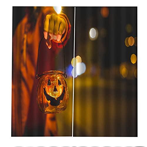 Cortinas Decorativas 3D Lámpara De Calabaza De Halloween Impresión Aislamiento Acústico Y Protección Uv Sala De Estar Dormitorio Balcón Habitación De Los Niños Cortinas Decorativas 2xW168xH229cm