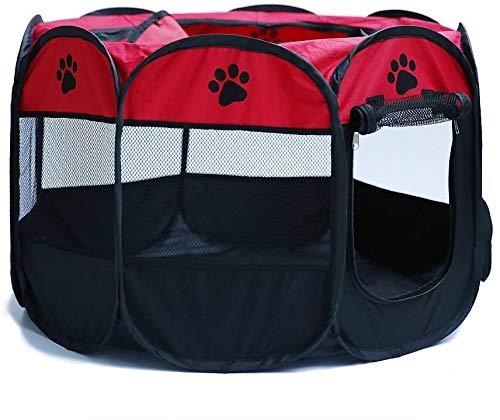 JOYEUX (73 * 73 * 43CM) Parque Mascota de Juego Entrenamiento Dormitorio Perro Gato Conejo Octágono Plegable Lavable Durable Parque para Animales para Dentro o afuera