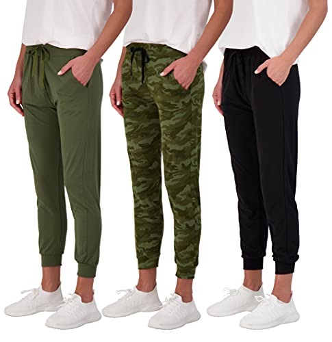 Real Essentials 3 Pack: Women's Lounge Jogger Soft Sleepwear Pajamas Loungewear Yoga Pant Active Athletic Track Running Workout Casual wear Ladies Yoga Sweatpants Pockets-Set 4,L
