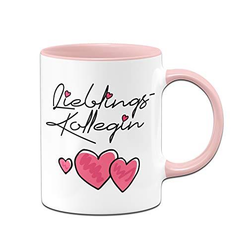 Tasse mit Spruch Lieblingskollegin - Bürotasse, Geschenk für die Beste Kollegin der Welt, Arbeitskollegin - Tassen mit Sprüchen (Rosa)