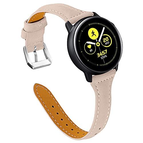 Galaxy Watch 42mm Armbänder,Miya Slim Echtleder Uhrenarmband Damen Herren Kompatibel für Galaxy Watch 42mm/Galaxy Watch 3 41mm/Active2 40mm 44mm/Gear S2 (M5)