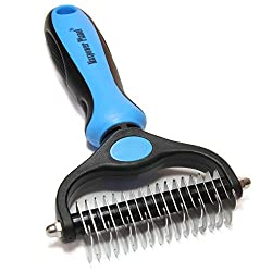Maxpower Planet Pet Grooming Brush - Double Sided Shedding and Dematting Undercoat Rake