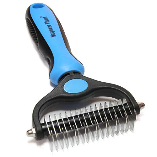 Maxpower Planet Pet Grooming Brush  Double Sided Shedding and Dematting Undercoat Rake Comb for Dogs and CatsExtra WideBlue