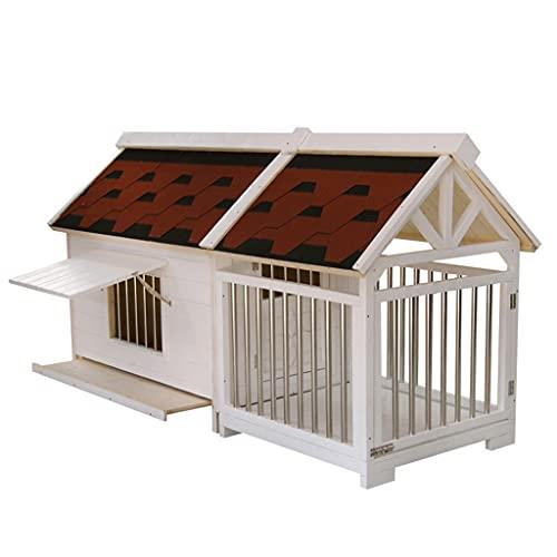 XYF Caseta para Perros Exterior Madera Maciza La Gran Jaula De Madera para Perros Casa De Perro, La Casa De Gato Mascota De Madera con Techo,...