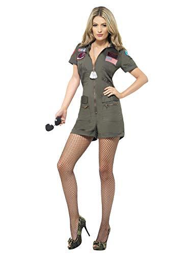 Smiffys Sexy Damen Top Gun Aviator Kostüm, Playsuit und Sonnenbrille, Top Gun, Größe: M, 27084