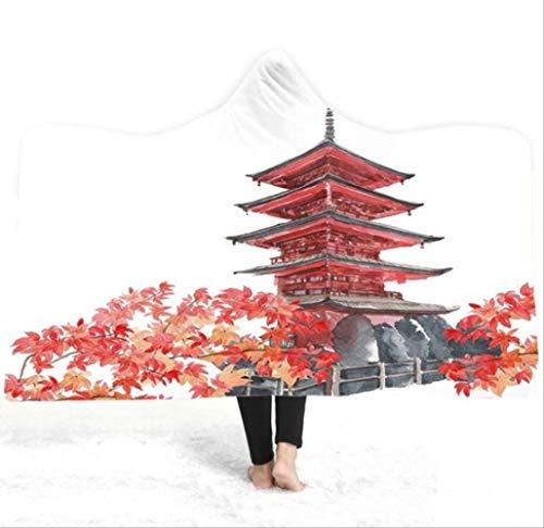 Scenery Hooded deken, zacht pluche volwassen kinderen houden warme capuchon dekens, met badjas kerst winddicht, voor reizen, decoratief, beddengoed